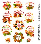 autumn sale label set of fall... | Shutterstock .eps vector #1131284438