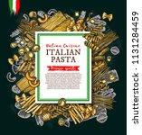 italian pasta and spaghetti...   Shutterstock .eps vector #1131284459