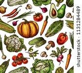 natural fresh vegetables sketch ... | Shutterstock .eps vector #1131284489