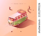 road trip by retro van in... | Shutterstock .eps vector #1131290126