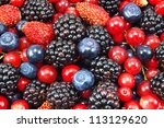 different fresh berries as... | Shutterstock . vector #113129620