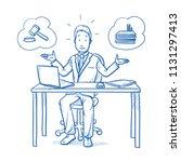 uncertain business man ... | Shutterstock .eps vector #1131297413