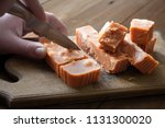 cut pieces of sweet oriental... | Shutterstock . vector #1131300020