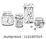 glass jars with jam. vector... | Shutterstock .eps vector #1131307019