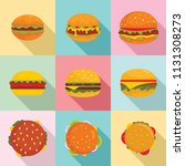 burger sandwich bread bun icons ... | Shutterstock .eps vector #1131308273