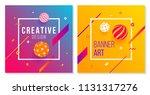 3d style banner design set on... | Shutterstock .eps vector #1131317276