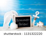 sunny card with sommerferien... | Shutterstock . vector #1131322220