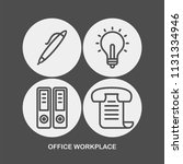 office workplace flat vector... | Shutterstock .eps vector #1131334946