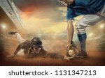 baseball players in dynamic... | Shutterstock . vector #1131347213