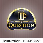 gold badge with beer jar icon... | Shutterstock .eps vector #1131348329