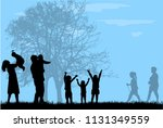 family silhouettes in nature. | Shutterstock .eps vector #1131349559