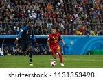 Small photo of Belgium's Eden Hazard during 1/2 final football match at World Cup 2018 France-Belgium. Saint-Petersburg Stadium, 10th of July, 2018.