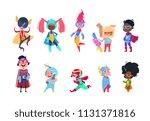 kids superheroes. cartoon... | Shutterstock .eps vector #1131371816