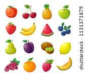 cartoon fruits and berries.... | Shutterstock .eps vector #1131371879