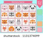 memory game with cute faces... | Shutterstock .eps vector #1131374099