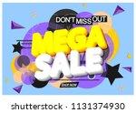 mega sale  banner design... | Shutterstock .eps vector #1131374930