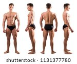 four views of muscular... | Shutterstock . vector #1131377780