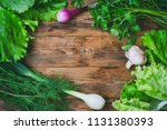 background with dill  parsley ... | Shutterstock . vector #1131380393