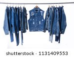 set of different blue jeans ... | Shutterstock . vector #1131409553