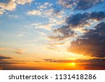 sunset sky clouds.delicate... | Shutterstock . vector #1131418286