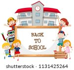 whiteboard and back to school ... | Shutterstock .eps vector #1131425264