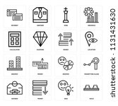 set of 16 icons such as gold ...