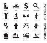set of 16 icons such as surf...