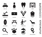 set of 16 icons such as map...