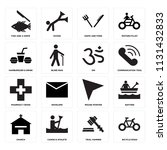 set of 16 icons such as bicycle ...