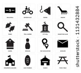 set of 16 icons such as picnic...