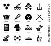 set of 16 icons such as rum ...
