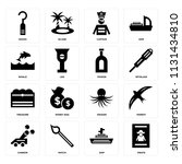 set of 16 icons such as pirate  ...