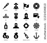 set of 16 icons such as anchor  ...