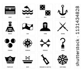 set of 16 icons such as ship...