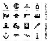 set of 16 icons such as candle  ...