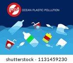 stop plastic ocean pollution... | Shutterstock .eps vector #1131459230
