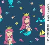 seamless mermaid pattern... | Shutterstock .eps vector #1131461309