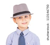 Portrait of cool pretty stylish little boy with toothpick. Isolated on white background. Clipping paths included. - stock photo