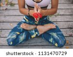young woman meditate in lotus...   Shutterstock . vector #1131470729