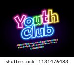 vector neon sign youth club.... | Shutterstock .eps vector #1131476483