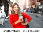 beautiful smiling woman enjoy... | Shutterstock . vector #1131482330