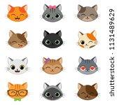 set of different cartoon cats | Shutterstock .eps vector #1131489629