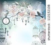 Floral Background. Birds  Cage...