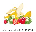 Strawberries And Banana. Vecto...