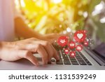 freelance woman using laptop... | Shutterstock . vector #1131539249