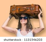 travel happily woman with... | Shutterstock . vector #1131546203
