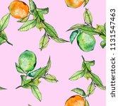 lemons and lime watercolor...   Shutterstock . vector #1131547463