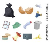 garbage and waste cartoon icons ... | Shutterstock .eps vector #1131548813