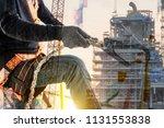 double exposure of construction ... | Shutterstock . vector #1131553838