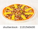 pizza with minced meat  and... | Shutterstock . vector #1131560630